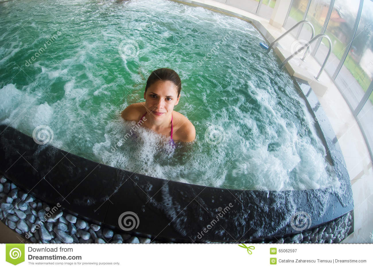 Jacuzzi Pool Jet Young Woman Relaxing In An Indoor Pool Stock Image Image
