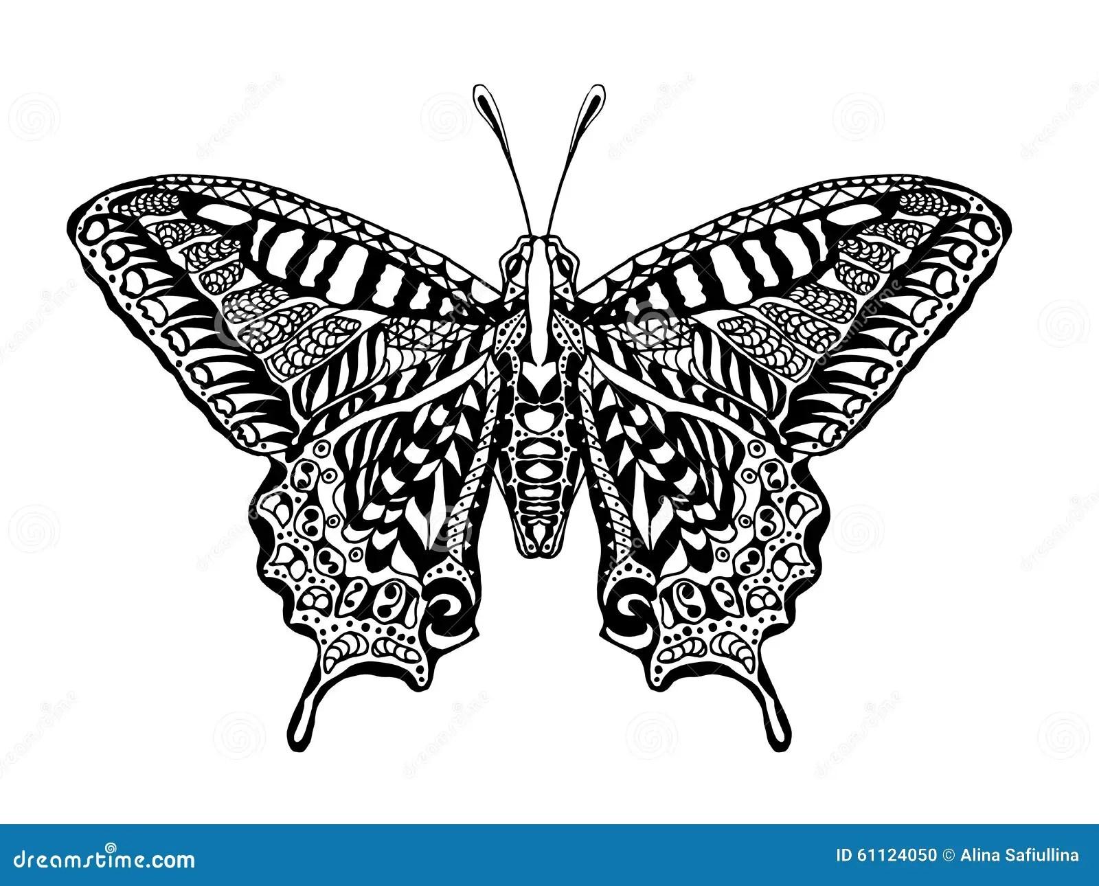 Cute Mandala Wallpaper Zentangle Stylized Butterfly Stock Illustration Image