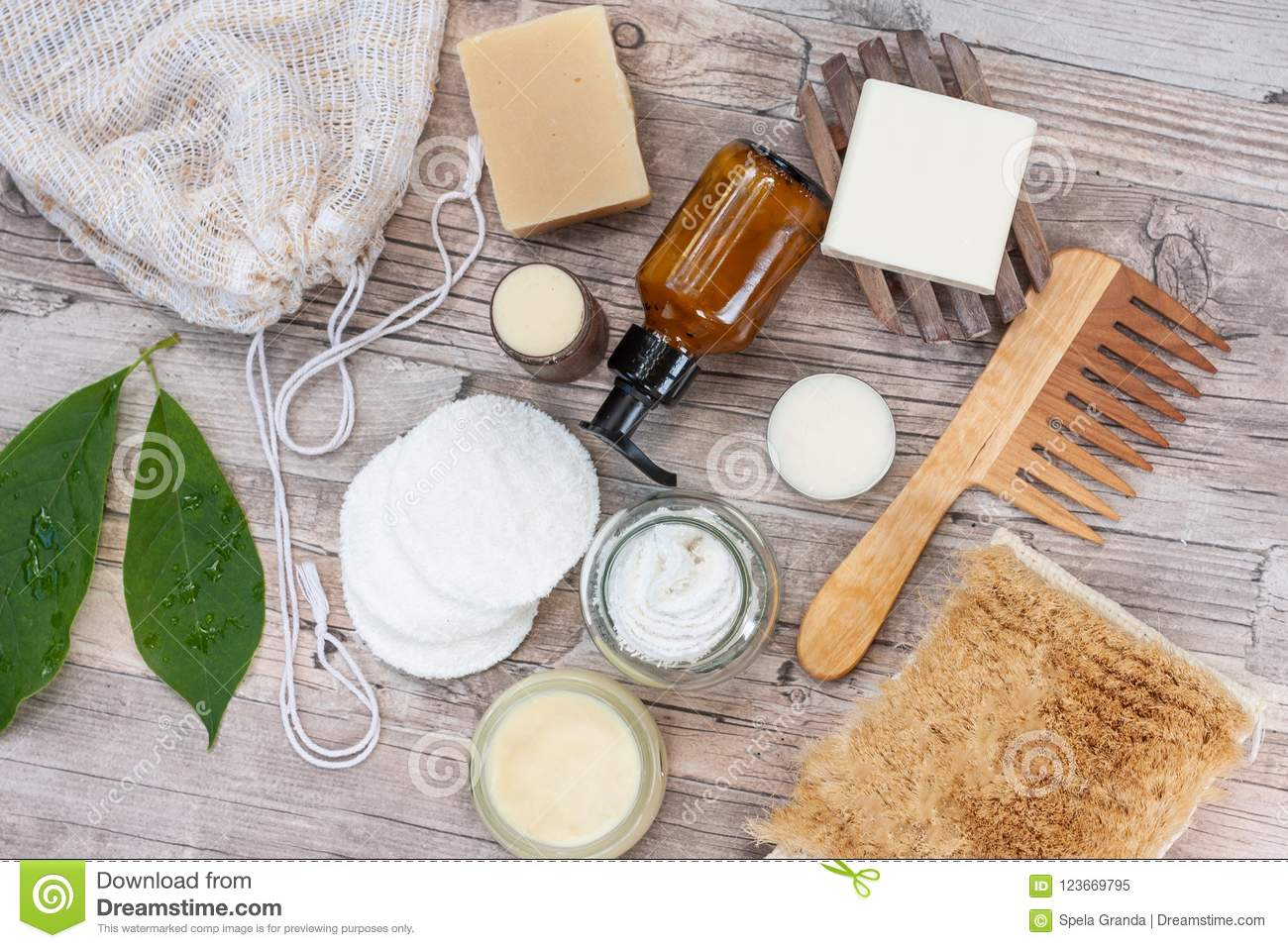 Natural Items For A Zero Waste Bathroom Stock Image Image Of Biodegradable Natural 123669795