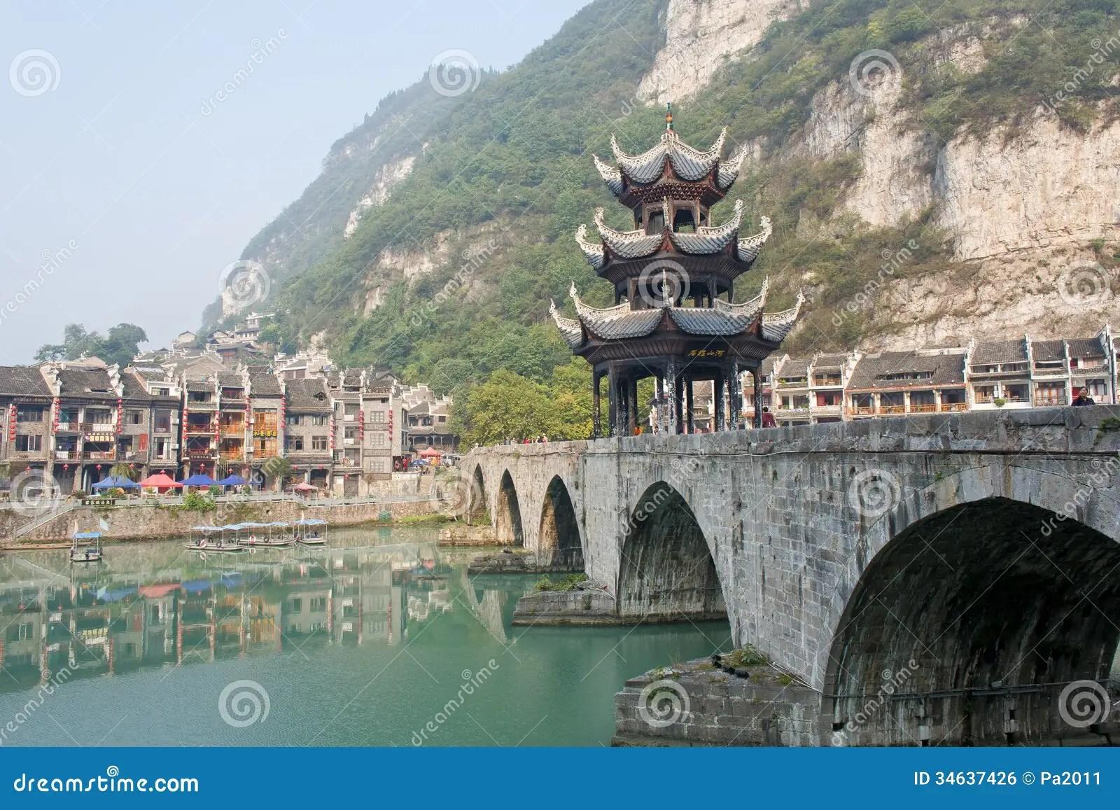 Free 3d Scenic Wallpaper Zhenyuan Ancient Town In Guizhou China Editorial Photo