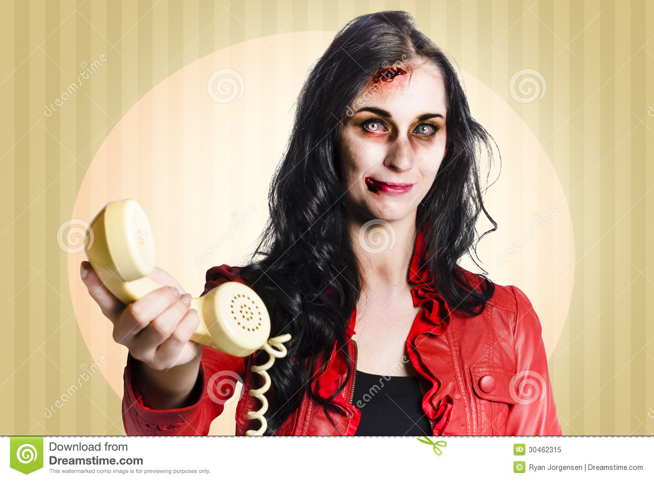 Bad Retro Zombie Business Person Handing Over Bad News Phone Royalty