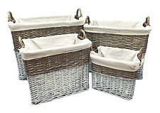 Strong Deep White Wicker Storage Home Log Hamper Laundry