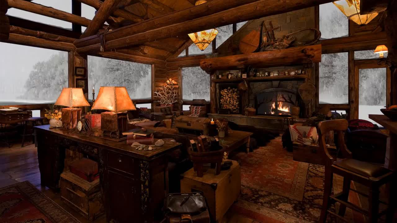 Fireplace Sounds Relaxing Atmosphere Cozy Log Cabin Snow With Fireplace Crackling Fire Sounds