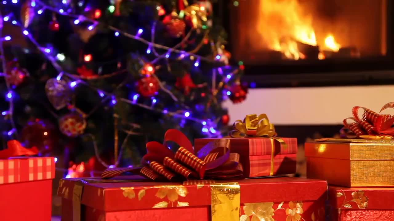 Christmas Background Gif Christmas Wallpaper Scene Christmas Tree Crackling Fireplace Christmas Background Video