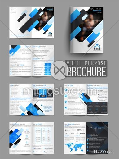 Professional Gym or Fitness Brochure Set with Front, Inner or Back - Fitness Brochure