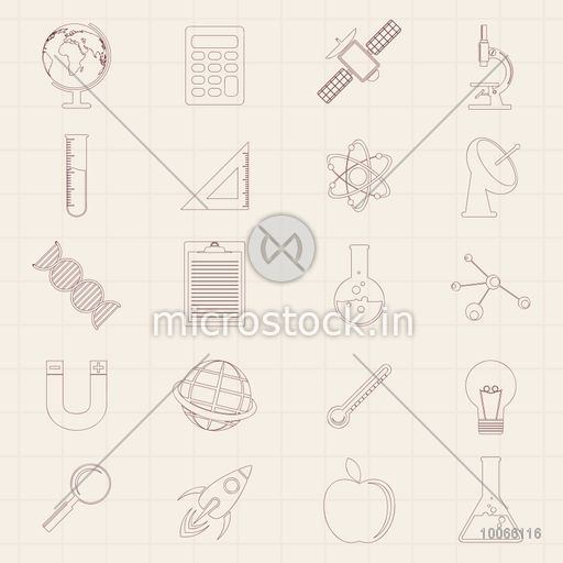 Set of various signs and symbols on graph paper background for