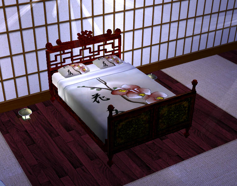 Build A Gaming Room Mod The Sims - Japanese Flowers Bed - Maxis Recolour