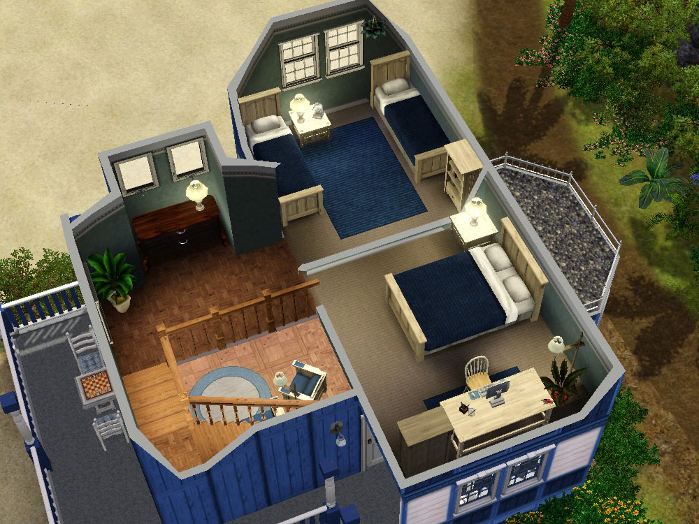 Build A Gaming Room Mod The Sims - Blue Beach House (under 50.000§) – No Cc
