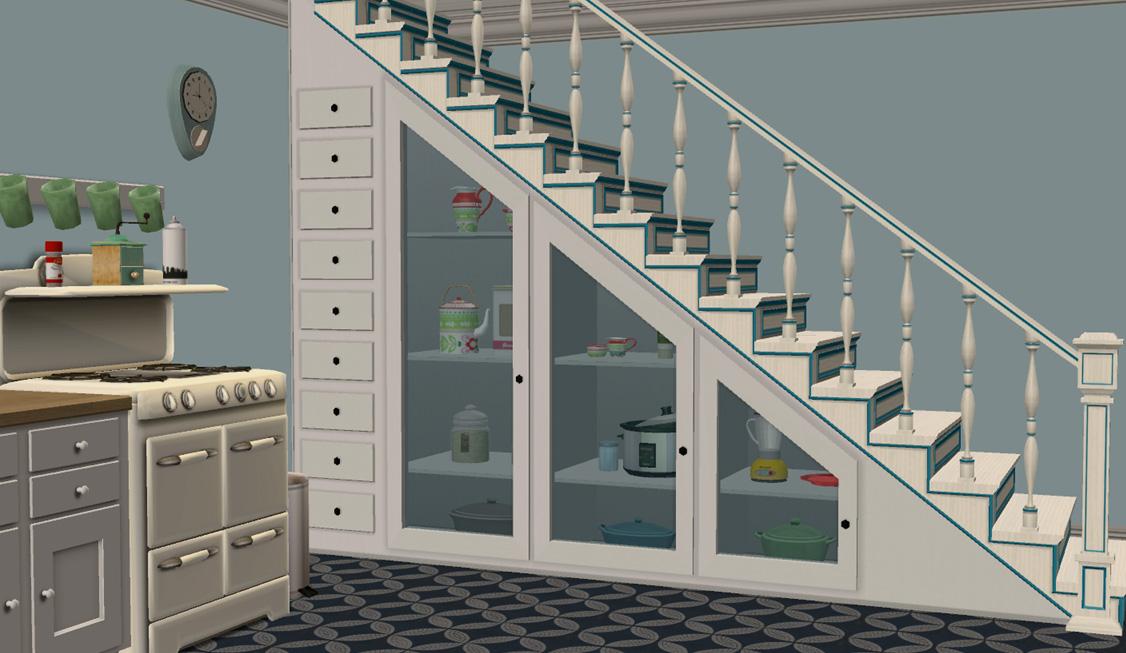 Mod The Sims - Under-The-Stairs Storage Set - under stairs kitchen storage