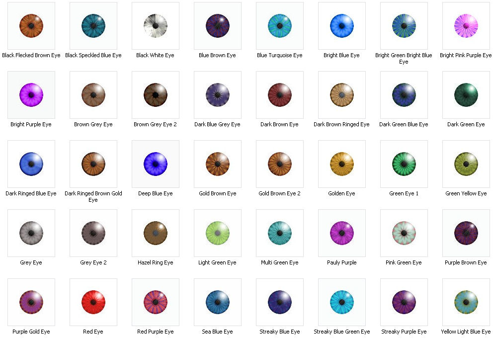Mod The Sims - 40 Eye Colours (Normal And Unusual)
