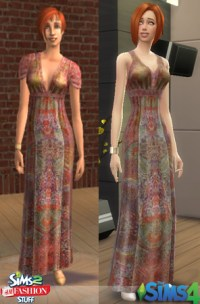 Mod The Sims - The Sims 2 H&M Long Printed Dress For The ...