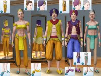 Mod The Sims - Genie Outfits, Hairs/Hats & Shoes Unlocked