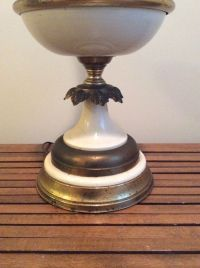 Vintage Mid Century WILMAR Table Lamp Brass & White ALL ...