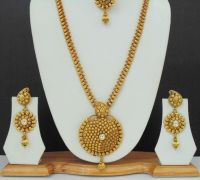 Long Necklace Earrings Jewelry Indian Gold Plated Ethnic ...