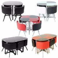 DINING TABLE with 4/6 Chairs Set ROUND TEMPERED GLASS ...