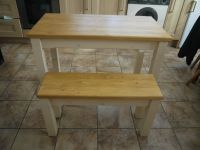 Wooden Farmhouse Kitchen Dining Table And 2 Bench Set ...
