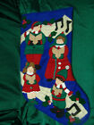 VINTAGE LARGE FELT CHRISTMAS STOCKING 4 CAROLERS VERY PRETTY FREE SHIPPING