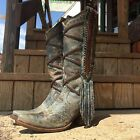 NIB CORRAL WOMEN'S BLUE BROWN BRAIDING AND FRINGE SNIP TOE WESTERN BOOTS A3147