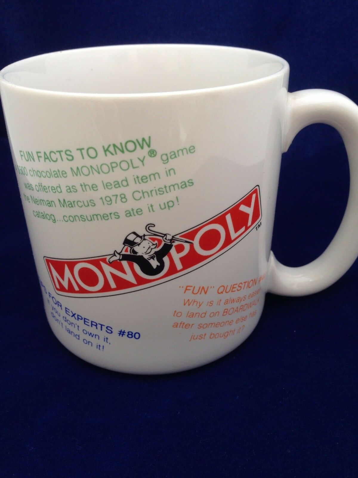 Interesting Coffee Cups Monopoly Fun Facts Trivia 1984 Coffee Mug Tea Cup Parker