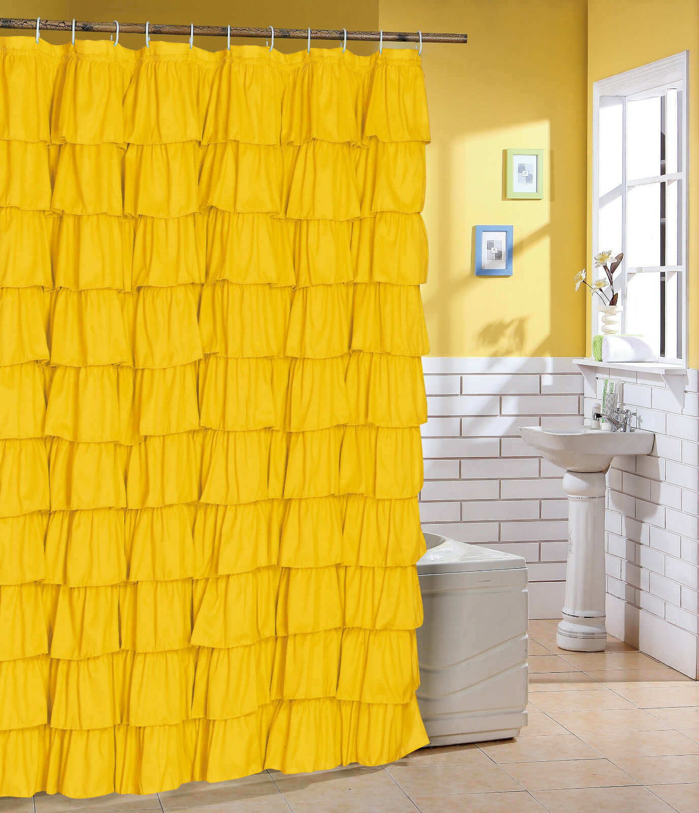 Yellow Fabric Shower Curtain Spring Fabric Ruffle Shower Curtain Color Yellow