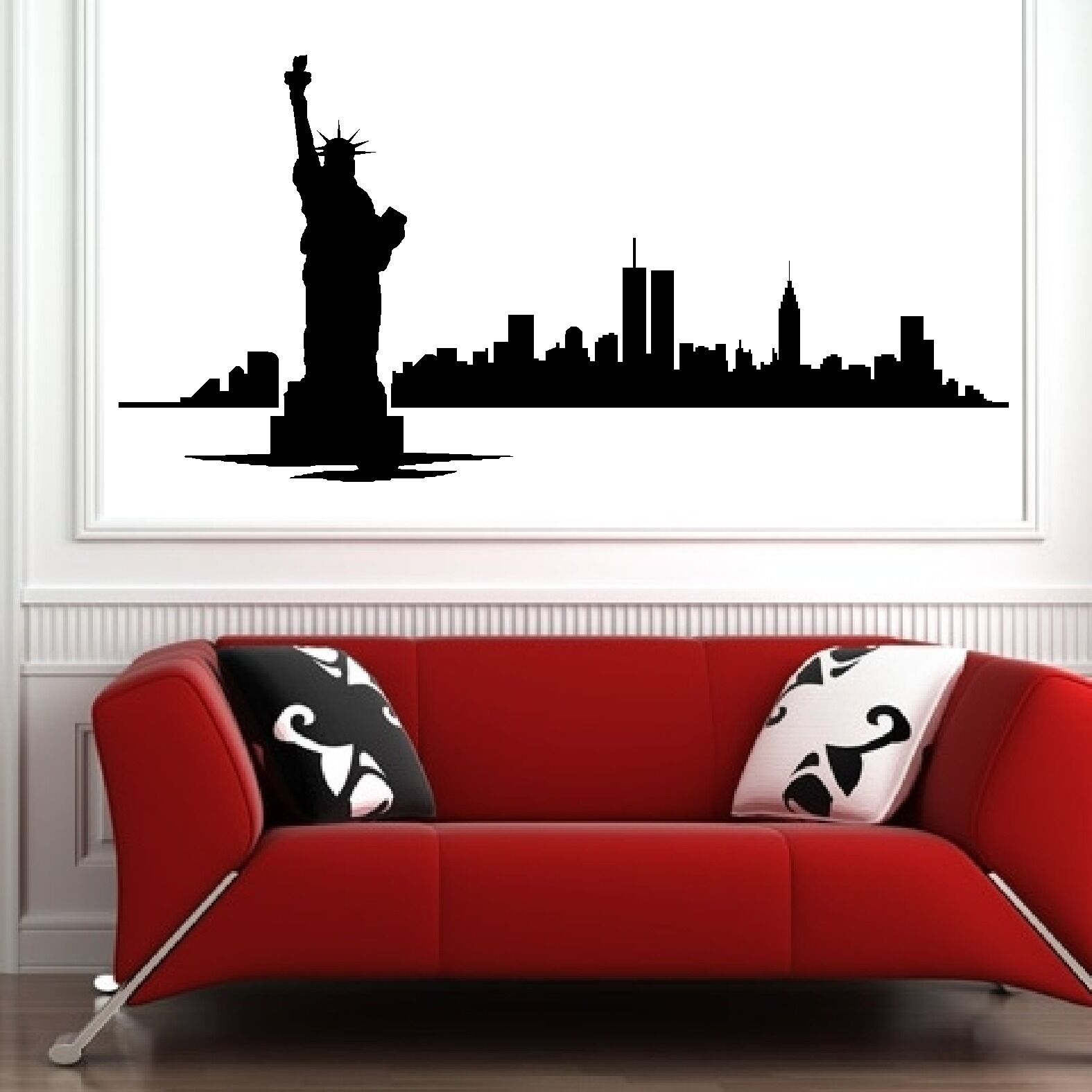 Modern Vinyl Wall Art New York City Big Apple Skyline Silhouette Wall Art
