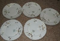 Pouyat Limoges 5 Dinner Plates Poy524 Blue and Pink Floral ...