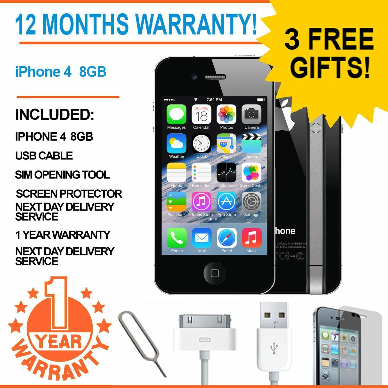 Iphone 4 8gb Libre Apple Iphone 4 8gb Ee Orange T Mobile Virgin Mobile Smart