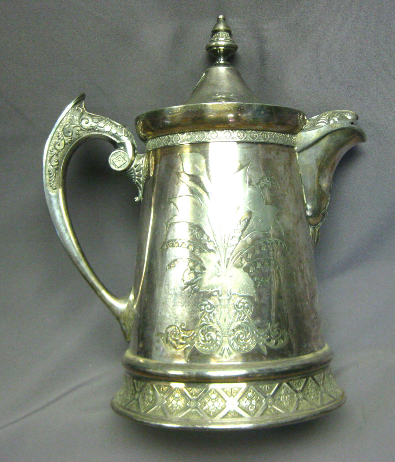 Water Pitcher Ceramic Antique Wilcox Quadruple Plate Silver Water Pitcher