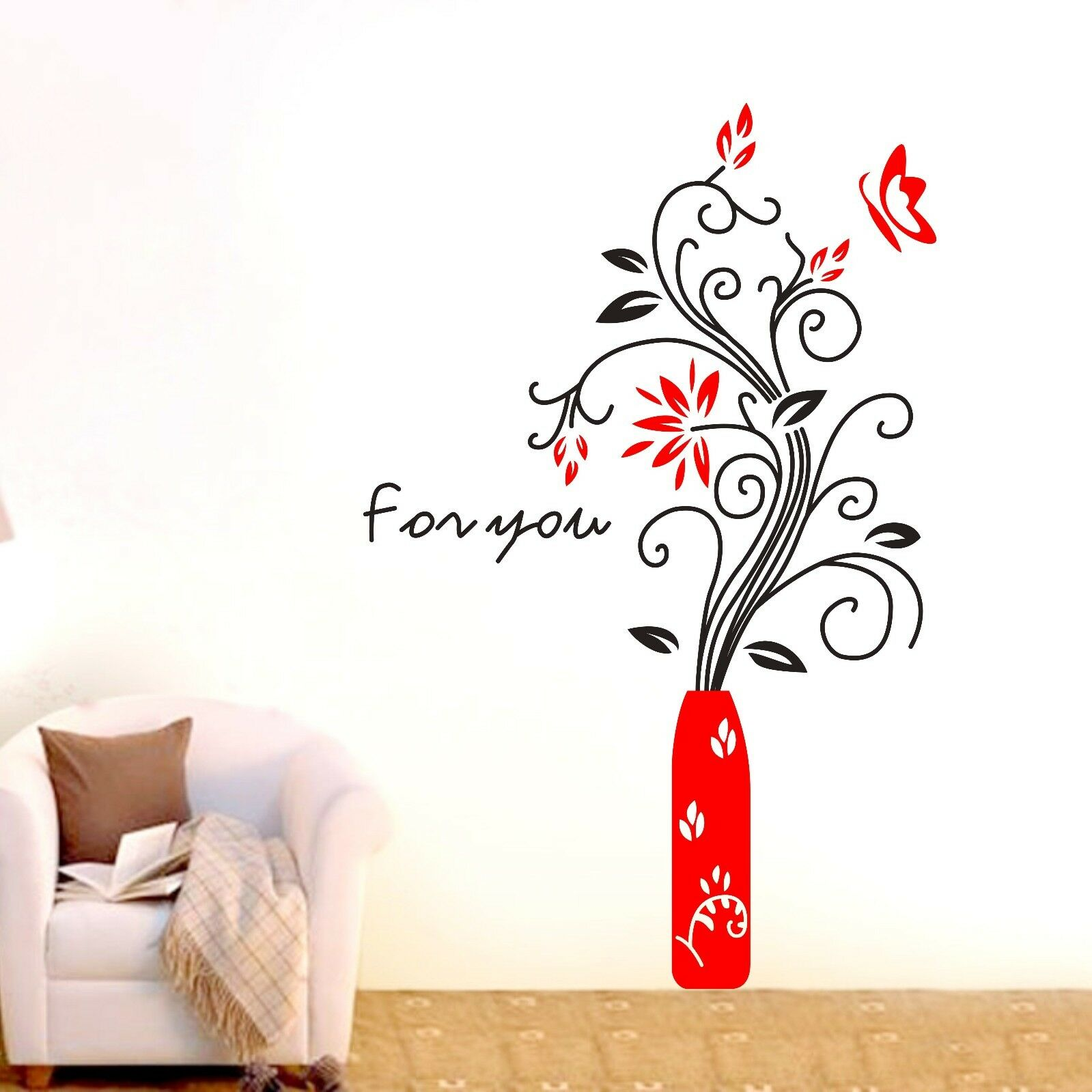 large flower butterfly wall stickers home decal removable art vinyl pics photos lively flowers large wall decals stickers appliques home