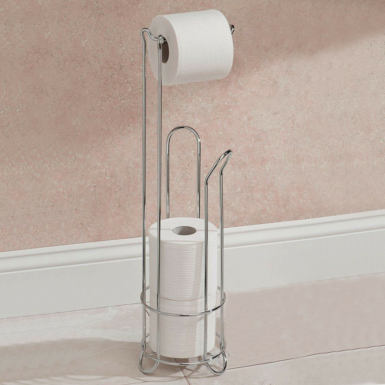 Bathroom Toilet Holder New Chrome Wire Frame Freestanding Bathroom Toilet Paper