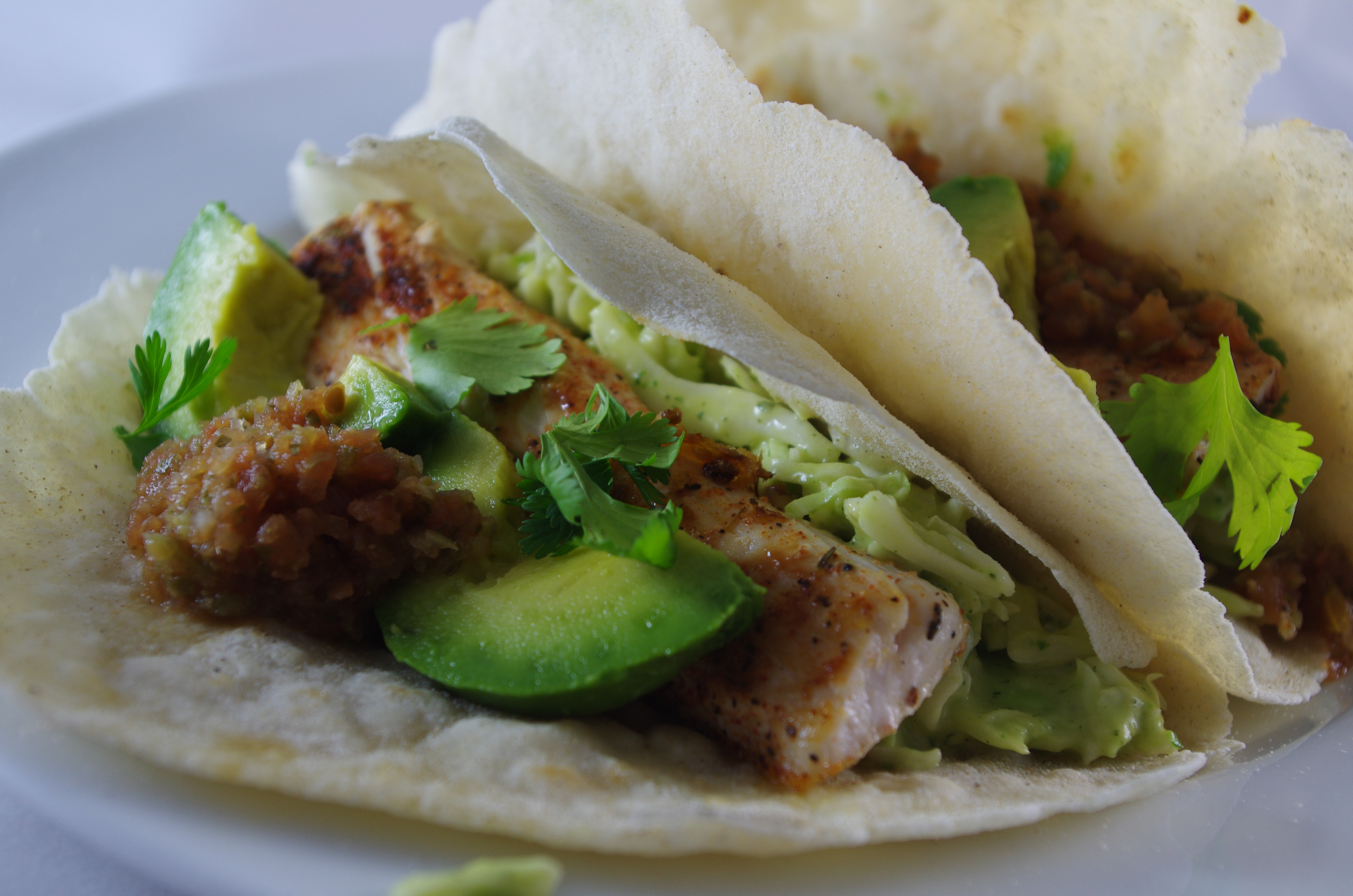 Saut ed fish tacos with slaw thyme and tarragon for Fish tacos with slaw