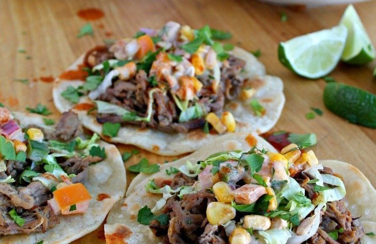 Pulled Tri-tip Tacos with Creamy Corn Salsa