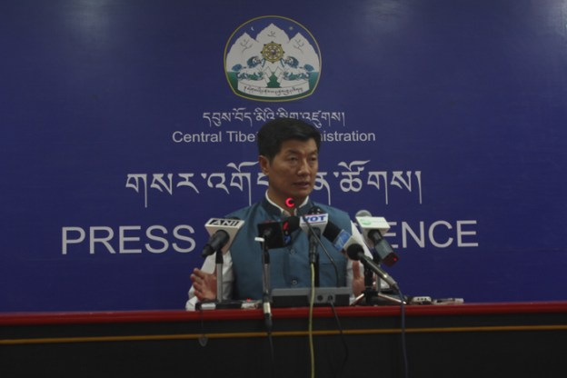 Sikyong Sangay addressing the press conference.