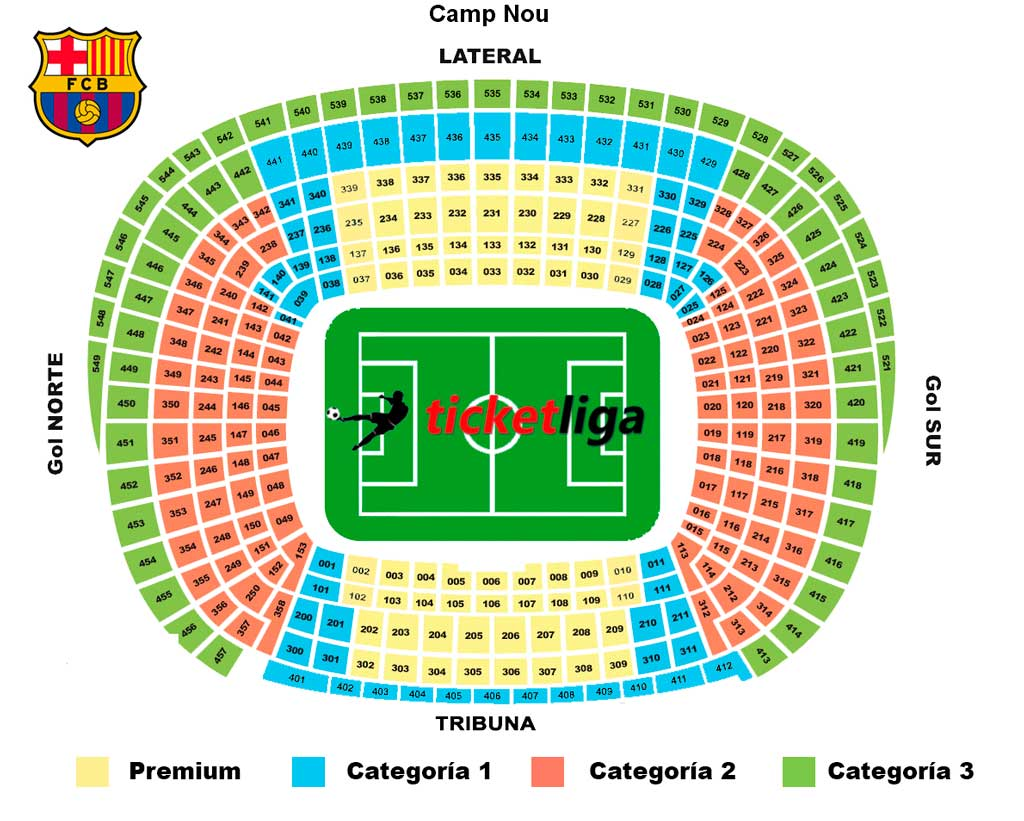 Mapa Asientos Camp Nou Nou Camp Ticketliga