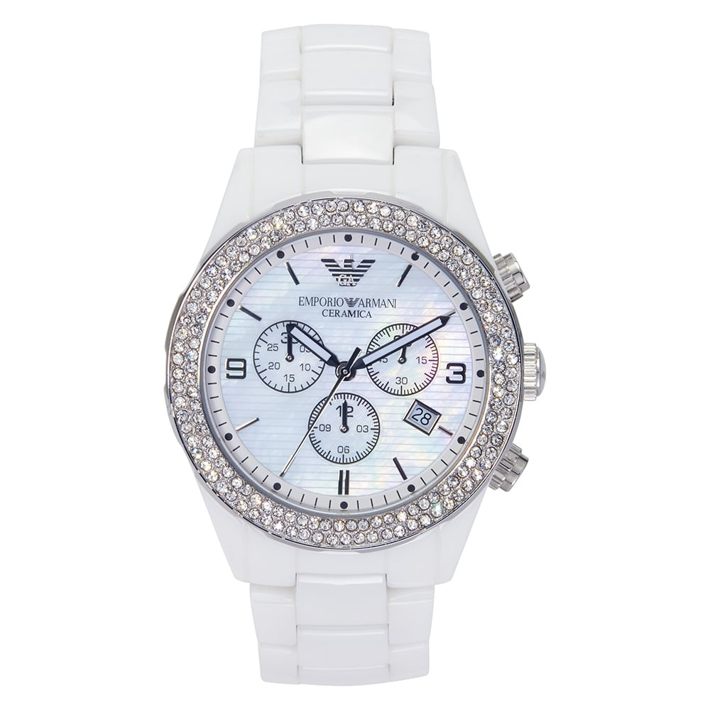 I Watch Ladies Armani Watches Ar1456 Ladies White Crystal Ceramica Watch