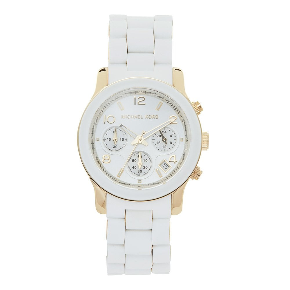 I Watch Ladies Michael Kors Watches Mk5145 Runway Chronograph White Silicone Coated Stainless Ladies Watch