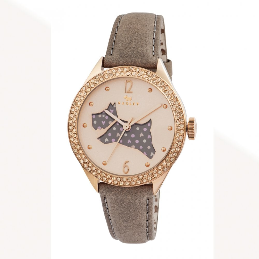 Leather Strap Rose Gold Watch Radley Ry2206 The Great Outdoors Rose Gold Crystal Dial Brown Leather Strap Watch