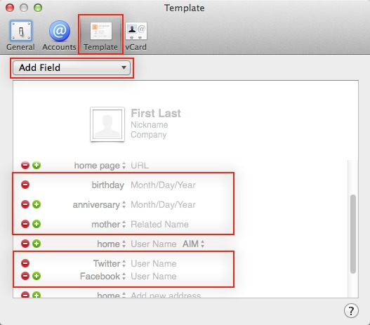 Making the Most of Contacts in Mavericks - TidBITS - name address phone number template