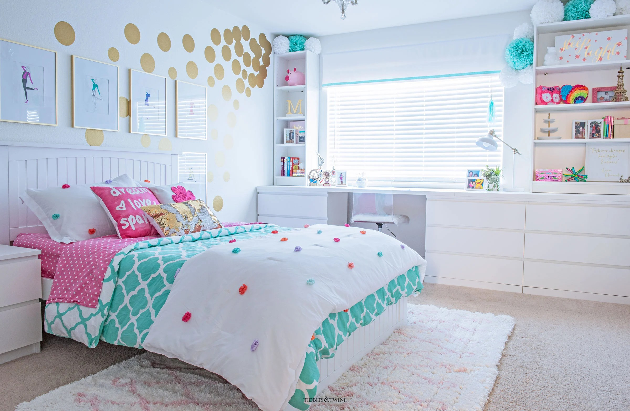 White Bedroom For Girl Tween Girl 39s Bedroom Makeover Reveal Tidbits Andtwine