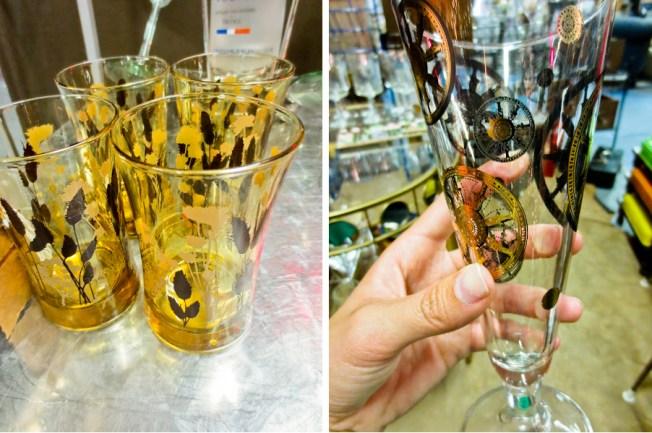 antique glassware at Paris On Ponce in Atlanta