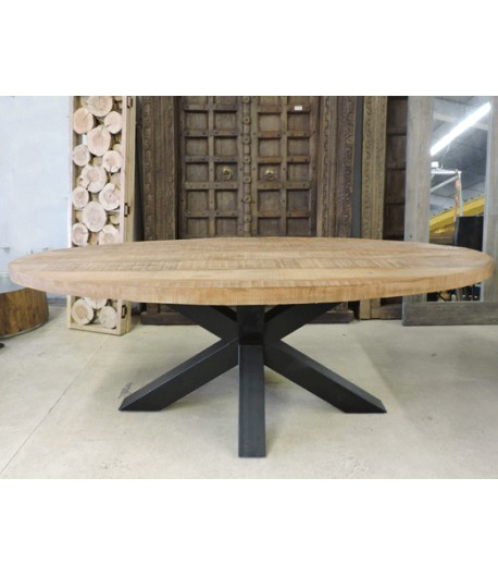 Table Haute Et Tabourets Cuisine Table Ovale Massive Pied Central - Tidy Home