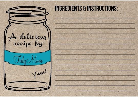 Personalized Recipe Cards - recipe card