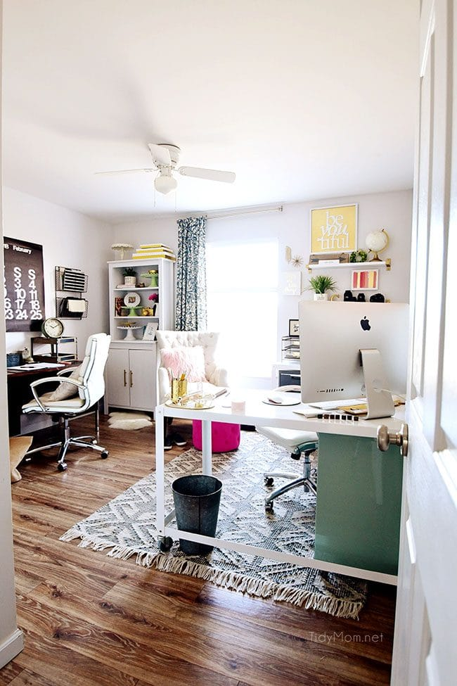 Industrial Ceiling Fan With Light Decorating A Shared Home Office | Tidymom®