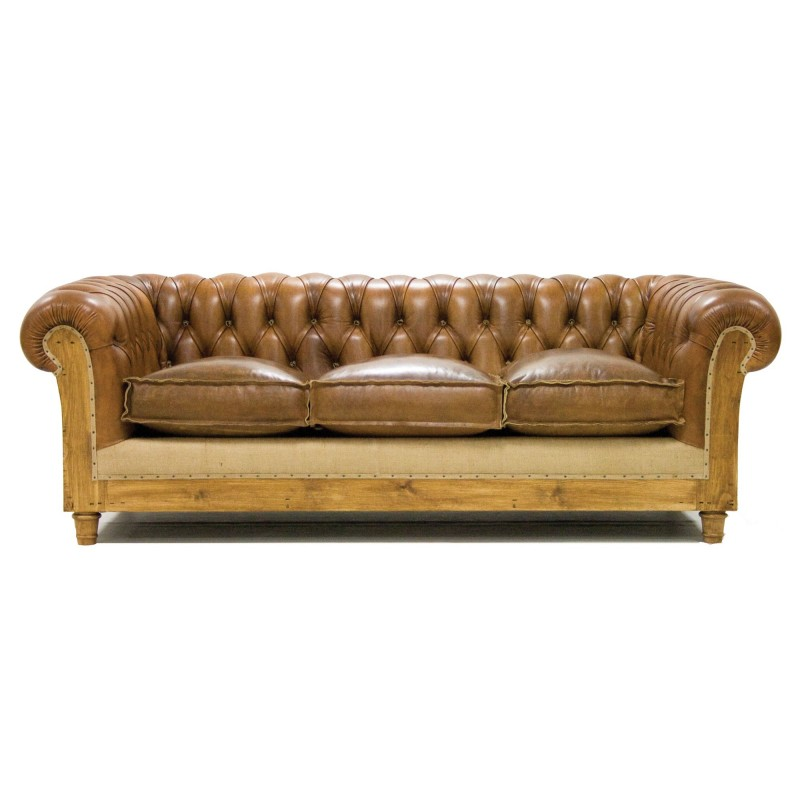 Chesterfield Sofa Espana Sofa Chester Essence Piel Marron Claro Tres Plazas Crearte