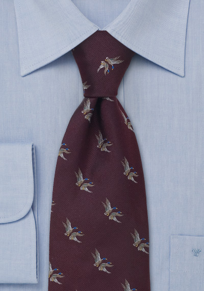 Design Outlet Hamburg Duck Hunting Tie Silk Tie By Laco With Flying Ducks