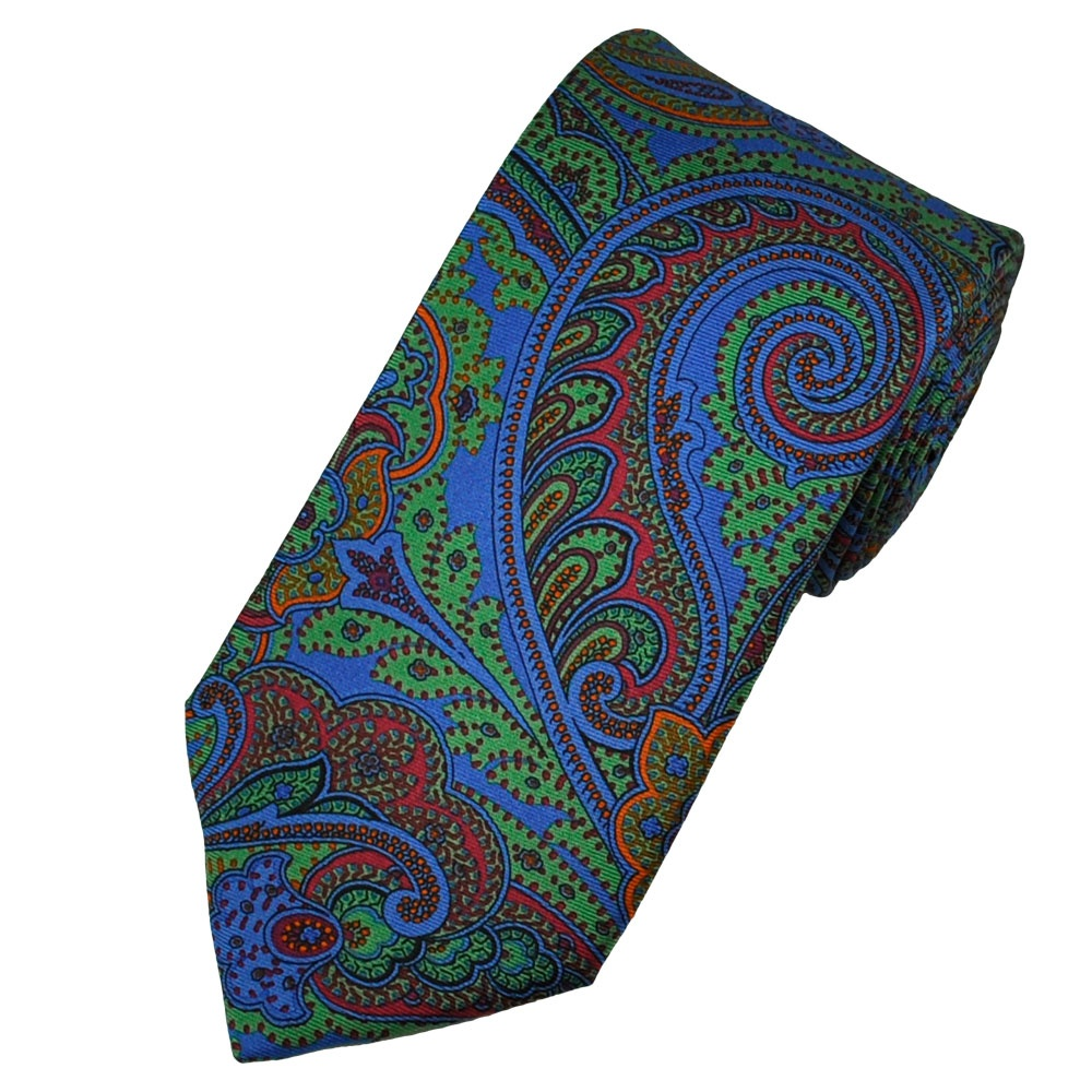 Atelier F Atelier F&b Blue Paisley Silk Designer Tie From Ties Planet Uk