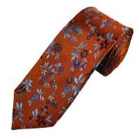 Orange, Blue & Red Flower Patterned Men's Silk Tie from ...