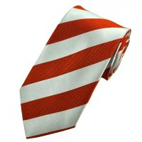 Orange & Silver-White Striped Silk Tie from Ties Planet UK
