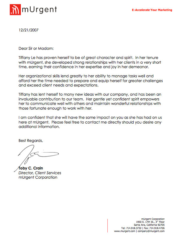 Recommendation Letter from Toby C Crain - short letter of recommendation