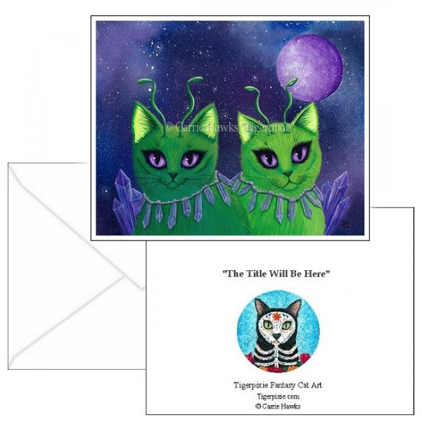 Note Card Alien Cats, Green Cats, Purple Crystals, Cat Cards